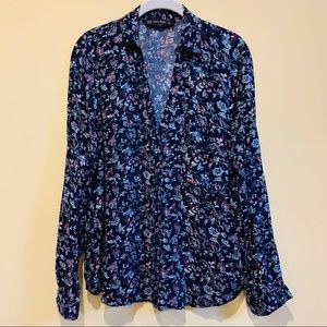 Zara basic navy floral button down top, XL